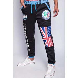 Loose Fit Trendy Lace-Up Flag and Badge Print Beam Feet Men's Polyester Sweatpants - BLACK XL