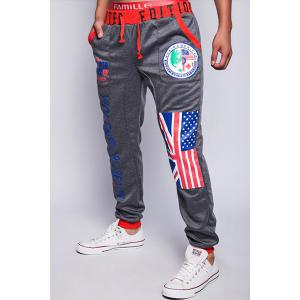 Loose Fit Trendy Lace-Up Flag and Badge Print Beam Feet Men's Polyester Sweatpants - DEEP GRAY XL