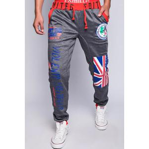 Loose Fit Trendy Lace-Up Flag and Badge Print Beam Feet Men's Polyester Sweatpants