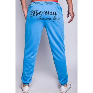 Loose Fit Modish Lace-Up Letter Print Rib Splicing Beam Feet Men's Polyester Jogger Pants -