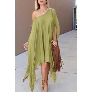 Stylish Scoop Neck Solid Color Asymmetrical Women's Dress