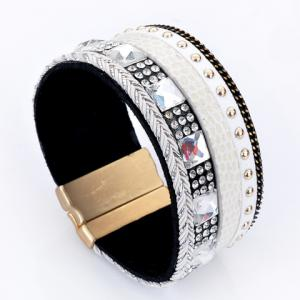 Rhinestone Decorated Faux Leather Bracelet - White