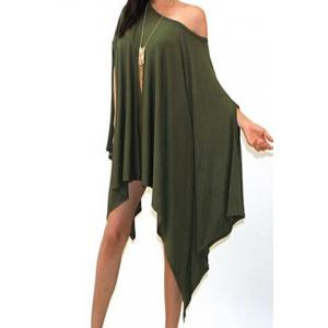 Stylish Scoop Neck Solid Color Asymmetrical Women's Dress - Army Green - 2xl
