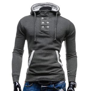 Trendy Hooded Double Breasted Pocket Hemming Slimming Long Sleeve Cotton Blend Hoodie For Men - Deep Gray - 2xl