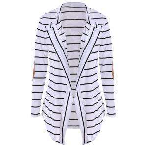 Chic Collarless Long Sleeve Spliced Striped Women's Cardigan - White - Xl