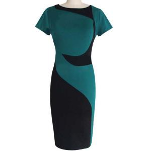 Sheath Color Block Pencil Work Dress