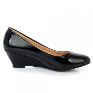 Simple Style Patent Leather and Solid Color Design Women's Wedge Shoes -