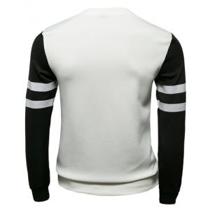 Stylish Slimming Round Neck Number Print Color Block Splicing Long Sleeve Polyester Sweatshirt For Men -
