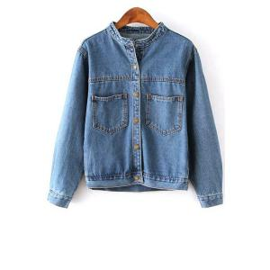 Trendy Stand Neck Long Sleeve Bleach Wash Single-Breasted Women's Denim Coat - Blue - M