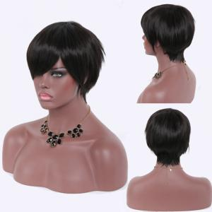 Spiffy Ultrashort Natural Black Capless Heat Resistant Fiber Straight Side Bang Women's Wig
