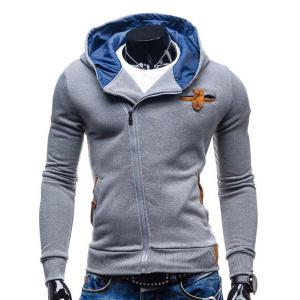 Modish Hooded Patched Splicing Oblique Zipper Slimming Long Sleeve Polyester Hoodie For Men - Light Gray - M