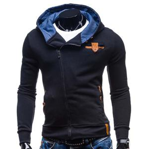 Modish Hooded Patched Splicing Oblique Zipper Slimming Long Sleeve Polyester Hoodie For Men