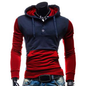 Fashion Hooded Two Color Splicing Button Design Slimming Long Sleeve Cotton Blend Hoodie For Men - Red - L