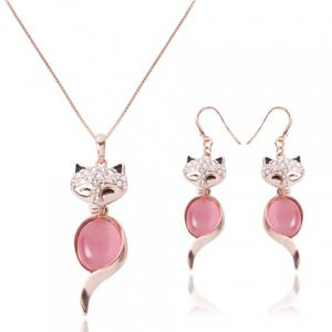 Chic Rhinestone and Faux Opal Decorated Fox Shape Pendant Necklace and A Pair of Earrings For Women