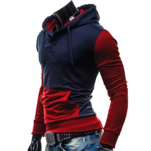 Fashion Hooded Two Color Splicing Button Design Slimming Long Sleeve Cotton Blend Hoodie For Men - RED M