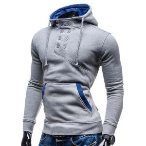 Trendy Hooded Double Breasted Pocket Hemming Slimming Long Sleeve Cotton Blend Hoodie For Men - LIGHT GRAY L