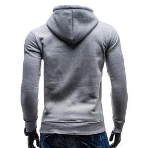 Trendy Hooded Double Breasted Pocket Hemming Slimming Long Sleeve Cotton Blend Hoodie For Men - LIGHT GRAY XL