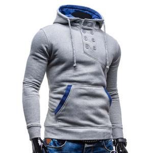 Trendy Hooded Double Breasted Pocket Hemming Slimming Long Sleeve Cotton Blend Hoodie For Men - LIGHT GRAY 2XL