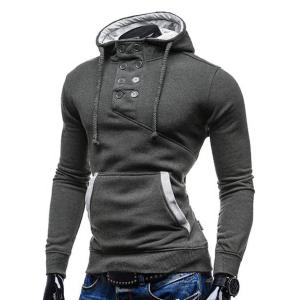 Trendy Hooded Double Breasted Pocket Hemming Slimming Long Sleeve Cotton Blend Hoodie For Men - DEEP GRAY XL