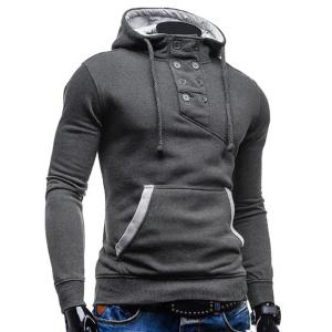 Trendy Hooded Double Breasted Pocket Hemming Slimming Long Sleeve Cotton Blend Hoodie For Men - DEEP GRAY 2XL