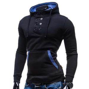 Trendy Hooded Double Breasted Pocket Hemming Slimming Long Sleeve Cotton Blend Hoodie For Men - BLACK M