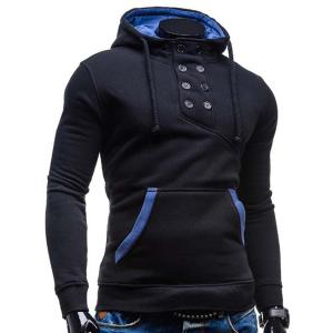 Trendy Hooded Double Breasted Pocket Hemming Slimming Long Sleeve Cotton Blend Hoodie For Men - BLACK XL