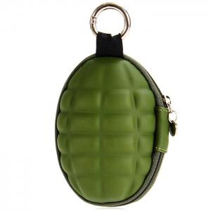 Creative Grenade Shaped Zippered Key Bag Coin Pouch -