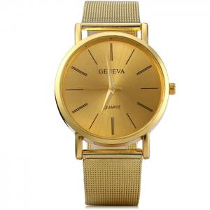 Geneva Male Quartz Watch with Round Dial Stainless Steel Band -