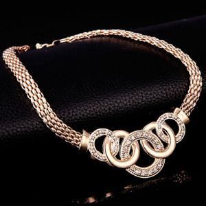 Chic Rhinestone Annulus Necklace Bracelet Ring and A Pair of Earrings For Women - GOLDEN