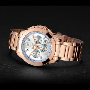 MEGIR 5006 Water Resistant Male Japan Quartz Watch with Stainless Steel Strap Working Sub-dials -