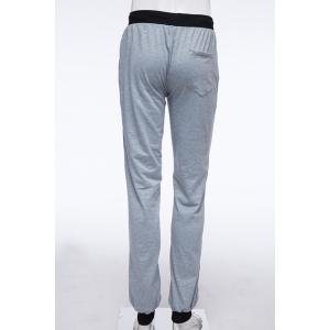 Loose Fit Stylish Lace-Up Splash-Ink Letters Print Beam Feet Polyester Sweatpants For Men - LIGHT GRAY M