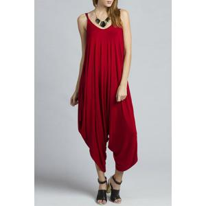 Stylish Cami Solid Color Loose Women's Jumpsuit