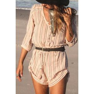 Fashionable V Neck Stripe Buttons 3/4 Sleeve Romper For Women - Pink - Xl