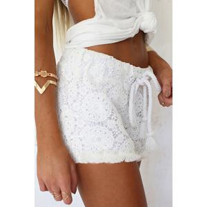 Stylish Elastic Waist Drawstring White Lace Women's Shorts