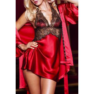 Sexy Plunging Neckline Lace Spliced Women's Babydoll