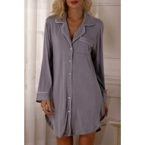 Casual Style Lapel Neck Long Sleeve Solid Color Women's Sleepwear