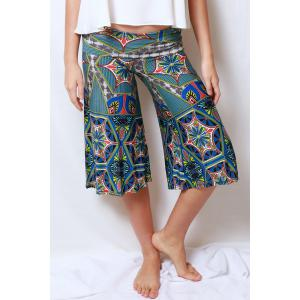 Stylish Elastic Waist Geometric Print Women's Fifth Pants