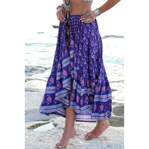 Fashionable Asymmetrical Floral Print Skirt For Women