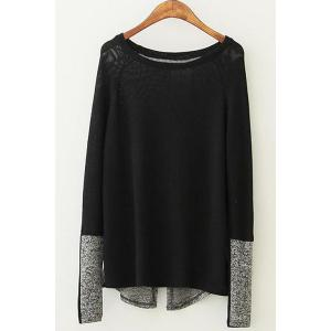 Stylish Scoop Neck Long Sleeve Color Block Women's Pullover Sweater