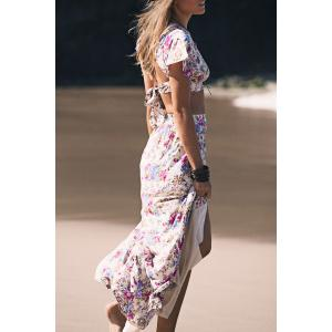 Sexy Style Jewel Neck Tiny Floral Print Short Sleeve Crop Top + Long Skirt For Women -