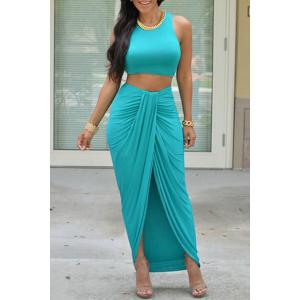 Stylish Sleeveless Crop Top and Solid Color Skirt Women's Suit - Lake Blue - L