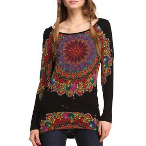 Fashionable Floral Print Scoop Neck Long Sleeve T-Shirt For Women