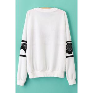 Stylish Round Neck Long Sleeve Geometric Print Women's White Sweatshirt -