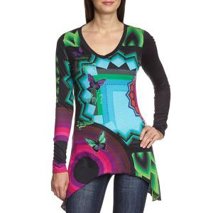Fashionable V Neck Butterfly Geometric Print Long Sleeve T-Shirt For Women