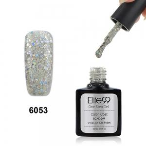 Elite99 3 in 1 Soak Off One Step Gel Polish No Need Base Top Coat UV LED Lamp - Glitter Pearl Light Yellow