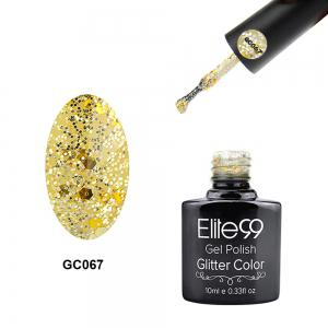 Elite99 Glitter Color Gel Soak Off Nail Polish UV LED Diamond Glitter Shimmer Effect 10ml - Glitter Pearl Light Yellow - 29