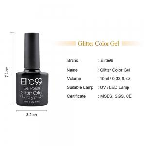 Elite99 Soak Off Diamond Glitter Polish UV LED Soak Off Gel Nail Lacquer 10ml - GRAY