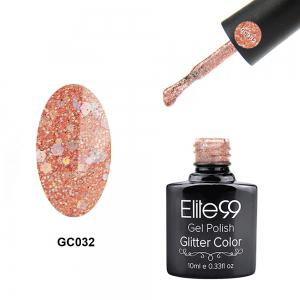 Elite99 Soak Off Diamond Glitter Polish UV LED Soak Off Gel Nail Lacquer 10ml - Light Apricot Pink - 29