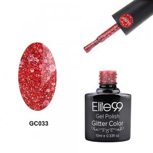 Elite99 Soak Off Diamond Glitter Polish UV LED Soak Off Gel Nail Lacquer 10ml - Rose Red