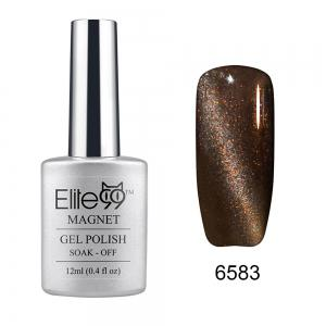 Elite99 Soak Off Cat Eye 3D Nail Tip UV Gel Polish Nail Art Design 12ml - Shimmer Deep Coffee - 31